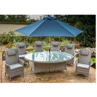 Katie Blake Flamingo 6 Reclining Chair Dining Set with 1.45m x 2.1m Oval Table Parasol and Base - Grey / Blue