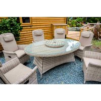 Katie Blake Flamingo 6 Reclining Chair Dining Set with 1.45m x 2.1m Oval Table Parasol and Base - Natural / Taupe