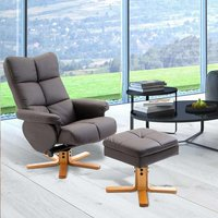 HOMCOM TV Armchair Recliner Set Lounge Storage Footrest Stool Faux Wooden Brown
