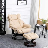 HOMCOM Faux Leather Manual Reclining Armchair Footstool Set Duo Padded Seat Beige