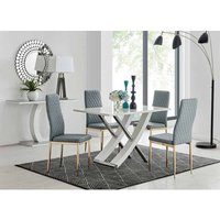 Furniture Box Mayfair 4 Seater Dining Table and 4 Grey Gold Leg Milan Chairs
