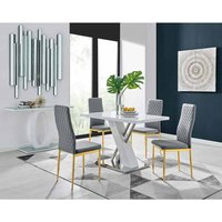 Furniture Box Sorrento 4 White Dining Table and 4 Grey Gold Leg Milan Chairs