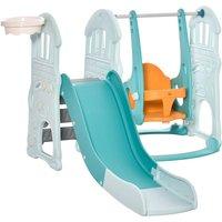 Jouet 3-in-1 Kids Slide and Swing Set with Basketball Hoop - Blue/Orange