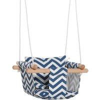 Outsunny Canvas Baby Swing with Wooden Frame and Cotton Cushion - Blue/White