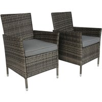 Charles Bentley Pair of Rattan Chairs - Grey Rattan with Grey Cushion