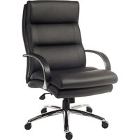 Teknik Samson Heavy-duty Leather Look Executive Chair with Padded Armrests and Sturdy Nylon Base - Black