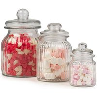 Giles & Posner 2-Piece Ribbed Glass Candy Jar Set - Clear