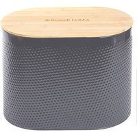 Russell Hobbs Embossed Oval Bread Bin with Bamboo Lid - Grey