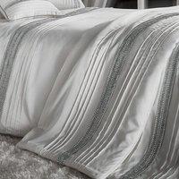 Catherine Lansfield Diamante Bands Bedspread - Pearl