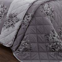 Catherine Lansfield Floral Bouquet Reversible Bedspread - Grey