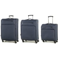 Rock Madison Set of 3 Lightweight Expandable 4-Wheel Spinner Suitcases - Navy