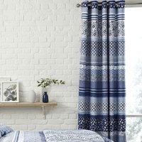 Catherine Lansfield Santorini Eyelet Curtains - Blue