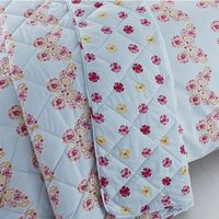 Catherine Lansfield Embroidered Butterfly Quilted Bedspread - Duck Egg