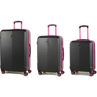 Members by Rock Onyx Luggage Set of 3 Contrast Trim Spinner Hardshell Suitcases - Black/Pink