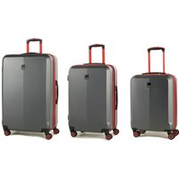Members by Rock Onyx Luggage Set of 3 Contrast Trim Spinner Hardshell Suitcases - Grey/Red