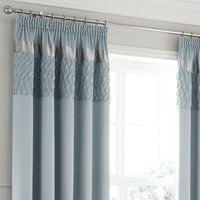 Catherine Lansfield Quilted Duck Egg Satin Pencil Pleat Curtains - Duck Egg