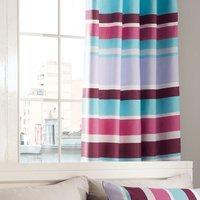 Catherine Lansfield Modern Textured Stripe Eyelet Curtains - Multi