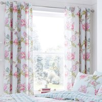 Catherine Lansfield Chrysanthemum Check Eyelet Curtains - Duck Egg
