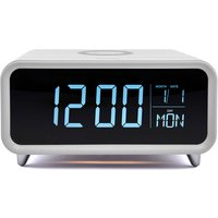 Groov-e Athena Alarm Clock & Wireless Charger - White