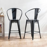 Home Scape Metal Bar Stools with Back and Arms - 2 Pack
