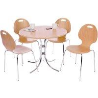 Teknik Café Bistro Set with a Light Wood Table and Four Café-Style Chairs