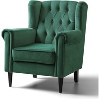 Cambridge Accent Chair Velvet Jasper Black Legs