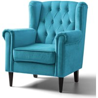 Cambridge Accent Chair Velvet Lagoon Black Legs
