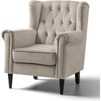 Cambridge Accent Chair Velvet Putty Black Legs