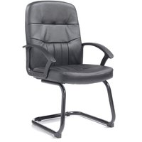 Dams Black-Frame Leather-Faced Cantilever Chair
