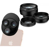 Aquarius 3-in-1 Camera Lens for All Mobile Phones With Fish-eye Lens and Wide Angle - Black