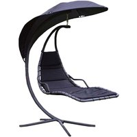 Charles Bentley Swing Chair Seat Lounger - Black
