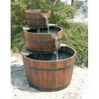 Charles Bentley Garden 3 Tier Wooden Barrel Water Feature