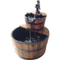 Charles Bentley Garden 2 Tier Wooden Barrel Water Feature