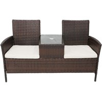 Charles Bentley Rattan Companion Seat With Cushions - Dark Brown