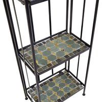 Charles Bentley 3 Tier Plant Rack With Blue Mosaic Plant Pot
