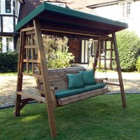 Charles Taylor Dorset Three Seat Swing with Green Cushions and Roof Cover