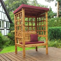 Charles Taylor Bramham Two Seat Arbour with Burgundy Roof Cover and Cushions