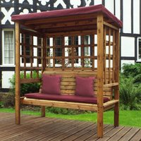 Charles Taylor Bramham Three Seat Arbour with Burgundy Roof Cover and Cushions