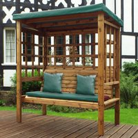 Charles Taylor Bramham Three Seat Arbour with Green Roof Cover and Cushions