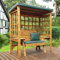 Charles Taylor Wentworth Two Seat Arbour with Green Roof Cover and Cushions