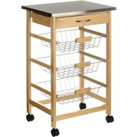 Premier Housewares Stainless Steel Top Kitchen Trolley