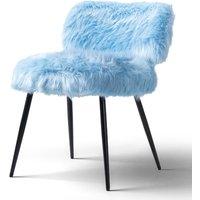 Molly Accent Chair Faux Fur Blue Black Legs
