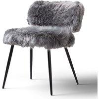 Molly Accent Chair Faux Fur Grey Black Legs