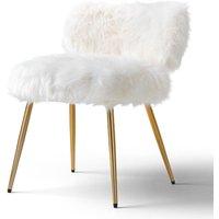 Molly Accent Chair Faux Fur White Gold Legs