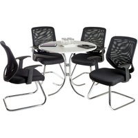 Teknik Nova Meeting Set Comprising Of A White Table And Four Nova Visitor Chairs