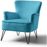 Oasis Accent Chair Velvet Lagoon Black Legs