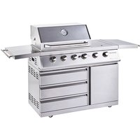 Outback Signature II 6-Burner Hybrid Gas and Charcoal BBQ plus Cover - Stainless Steel