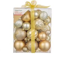 Robert Dyas Mixed 50 Piece Bauble Set - Gold and Champagne