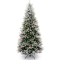 National Tree Company Frosted Winfield Slim Christmas Tree with Berries and Cones - 7.5ft
