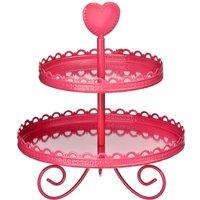 Premier Housewares 2 Tier Cake Stand - Pink